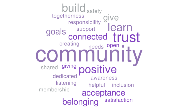 This WordCloud image highlights key aspects of community, emphasizing words like build, trust, learn, positive, belonging, goals, and connected.